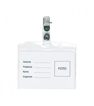 Porta badge con clip nichelata