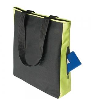 Shopper Borse in poliestere bicolore con tasca laterale e cerniera - 35x37x10 cm