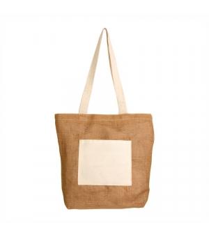 Shopper Borse in juta - 31x37 cm con tasca esterna in cotone naturale