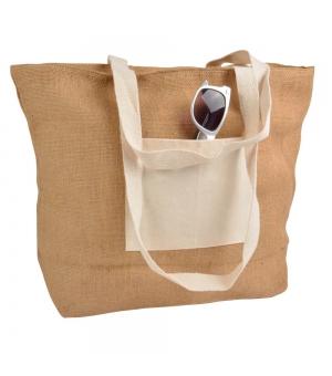 Shopper Borse in juta - 48x35 cm con chiusura lampo e tasca in cotone naturale