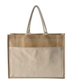 Shopper Borse in juta - 45x35x12 cm con soffietto e tasca in cotone naturale