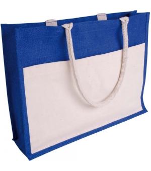 Shopper Borse in juta colorata - 45x35x12 cm con soffietto e tasca in cotone naturale