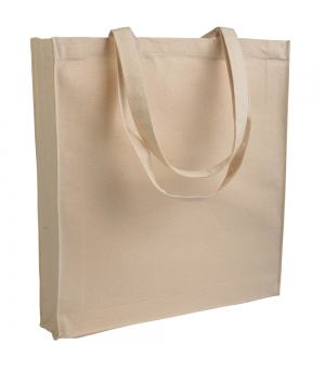 Shopper Borse in canvas - tela 280 gr manici lunghi e soffietto - 38x42x8 cm colore naturale
