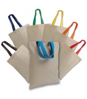Mini Shopper Borse in cotone manici corti colorati - 135 gr - 26x32 cm