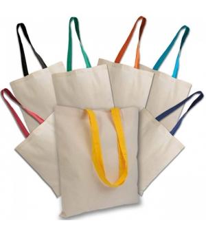 Shopper Borse in cotone manici lunghi colorati - 135 gr - 38x42 cm