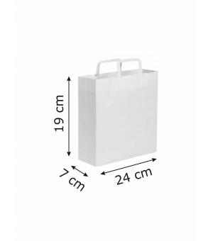 Buste di carta kraft bianca - 80 gr - 19x7x24 cm -  maniglia piatta