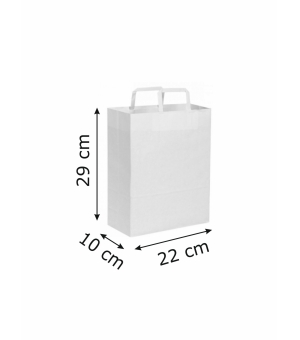 Buste di carta kraft bianca - 90 gr. - 22x10x29 cm -  maniglia piatta