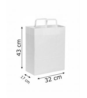 Buste di carta kraft bianca - 100 gr - 32x17x43 cm -  maniglia piatta