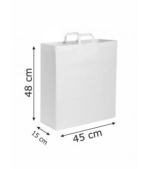 Buste di carta kraft bianca - 110 gr - 45x15x48 cm -  maniglia piatta