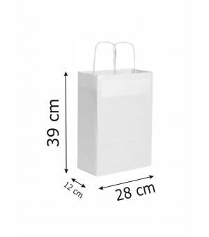 Buste di carta kraft bianca - 90 gr - 28x12x39 cm -  maniglia ritorta