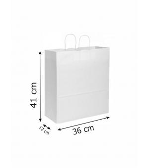 Buste di carta kraft bianca - 100 gr - 36x12x41 cm -  maniglia ritorta