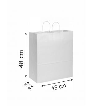 Buste di carta kraft bianca - 110 gr - 45x20x48 cm -  maniglia ritorta