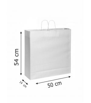 Buste di carta kraft bianca - 120 gr - 50x14x54 cm -  maniglia ritorta