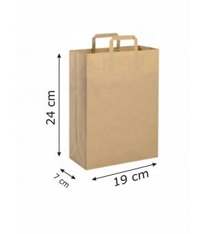 Buste di carta riciclata avana - 80 gr - 19x7x24 cm - maniglia piatta