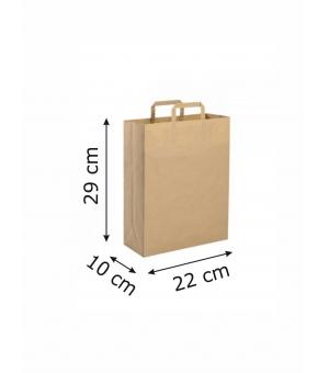 Buste di carta riciclata avana - 80 gr - 22x10x29 cm -  maniglia piatta