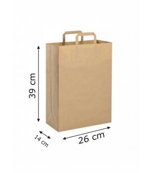 Buste di carta riciclata avana - 90 gr - 26x14x39 cm -  maniglia piatta