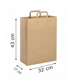 Buste di carta riciclata avana - 90 gr - 32x17x43 cm -  maniglia piatta
