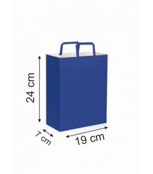 Buste di carta kraft bianca colorata - 80 gr - 19x7x24 cm -  maniglia piatta