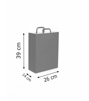 Buste di carta kraft bianca colorata - 90 gr - 26x14x39 cm -  maniglia piatta