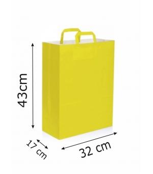 Buste di carta kraft bianca colorata - 100 gr - 32x17x43 cm -  maniglia piatta