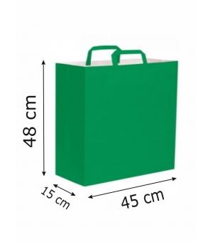 Buste di carta kraft bianca colorata - 110 gr - 45x15x48 cm -  maniglia piatta