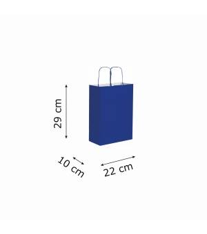 Buste di carta kraft bianca colorata - 90 gr - 22x10x29 cm -  maniglia ritorta