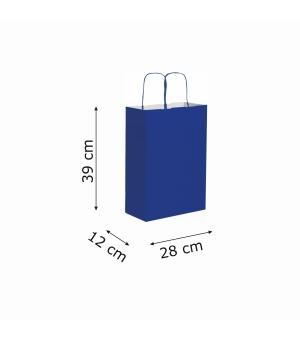 Buste di carta kraft bianca colorata - 90 gr - 28x12x39 cm -  maniglia ritorta