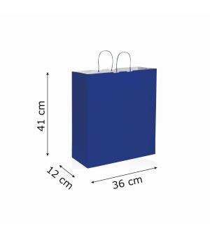 Buste di carta kraft bianca colorata - 100 gr - 36x12x41 cm -  maniglia ritorta