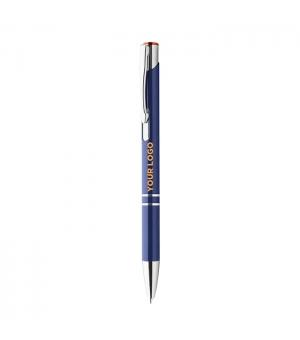 Penne a sfera Verbena in alluminio blu con pulsante colorato