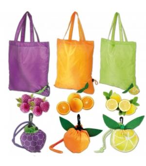 Borsa shopper richiudibile forma arancia, pallone, mora o limone