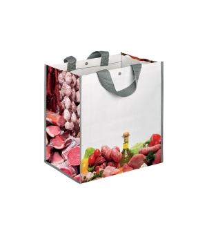 Borsa shopper in polipropilene carni e salumi - 140 gr -35x34,5x22 cm