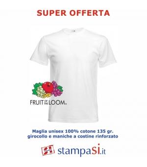 T-shirt adulto unisex girocollo bianche Fruit Of The Loom