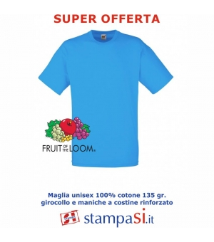 T-shirt adulto unisex colorata Fruit Of The Loom