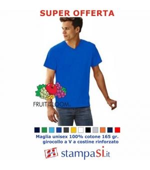 T-shirt Fruit Of The Loom Scollo a V - Uomo