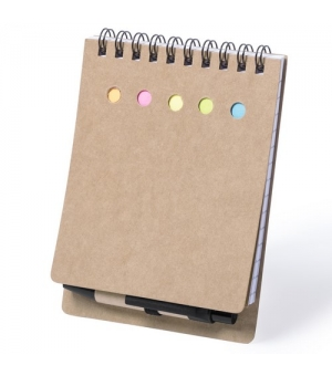 Block notes ecologico cm 9,5x13,2x1,5 in cartone riciclato con post it e penna