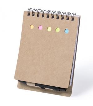 Block notes ecologico cm 9,5x13,2x1,5 in cartone riciclato con post it e penna