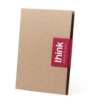 Block notes ecologico cm 14,5x21x1,8 in cartone riciclato con penna