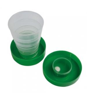 Bicchiere da viaggio in plastica richiudibile con tappo e portapillole