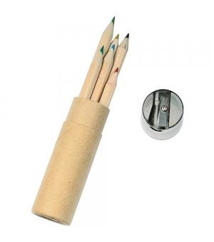 Set di 6 matite in legno colorate in confezione cilindrica con un temperino