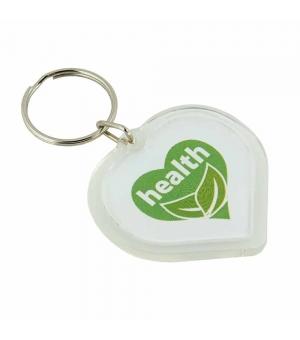 Portachiavi trasparente cuore in plastica porta etichetta o foto