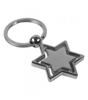 Portachiavi in metallo a forma di stella con parte centrale rotante