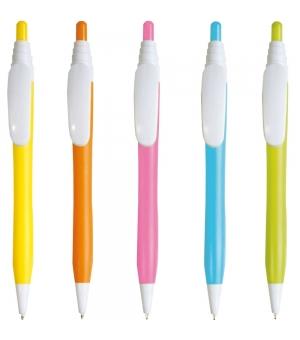 Penna a scatto in plastica con fusto colorato e pulsante in tinta