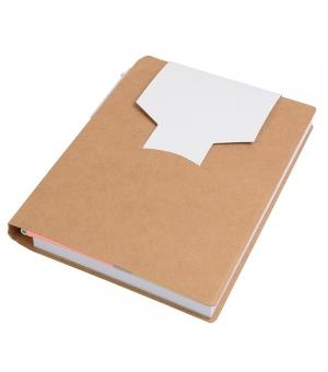 Notes in carta riciclata cm 10x14,3x1,2 con penna in cartone e foglietti adesivi