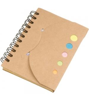 Notes ad anelli in carta riciclata cm 8,7x11x0,7 - 70 fogli e foglietti adesivi