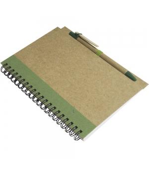 Notes ad anelli in carta riciclata cm 13,5x18 - 70 fogli bianchi e penna in cartone