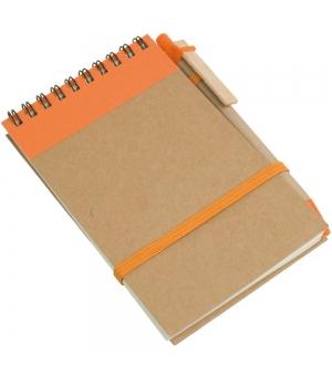 Notes ad anelli in carta riciclata cm 9x15 - 70 fogli bianchi e penna in cartone