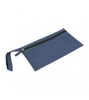 Porta documenti in poliestere con chiusura zip e pratica maniglia