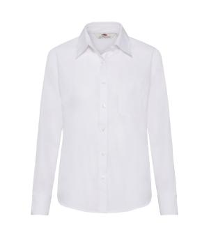 Camicia donna bianca Poplin Shirt Long Sleeve  Fruit of the Loom