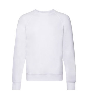 Felpa uomo bianca  Lightweight Raglan Sweat  Fruit of the Loom