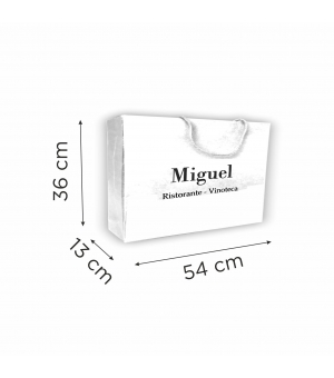 Buste in carta con stampa a caldo - carta colore bianco 200 gr - 54x13x36 cm - maniglia in cotone